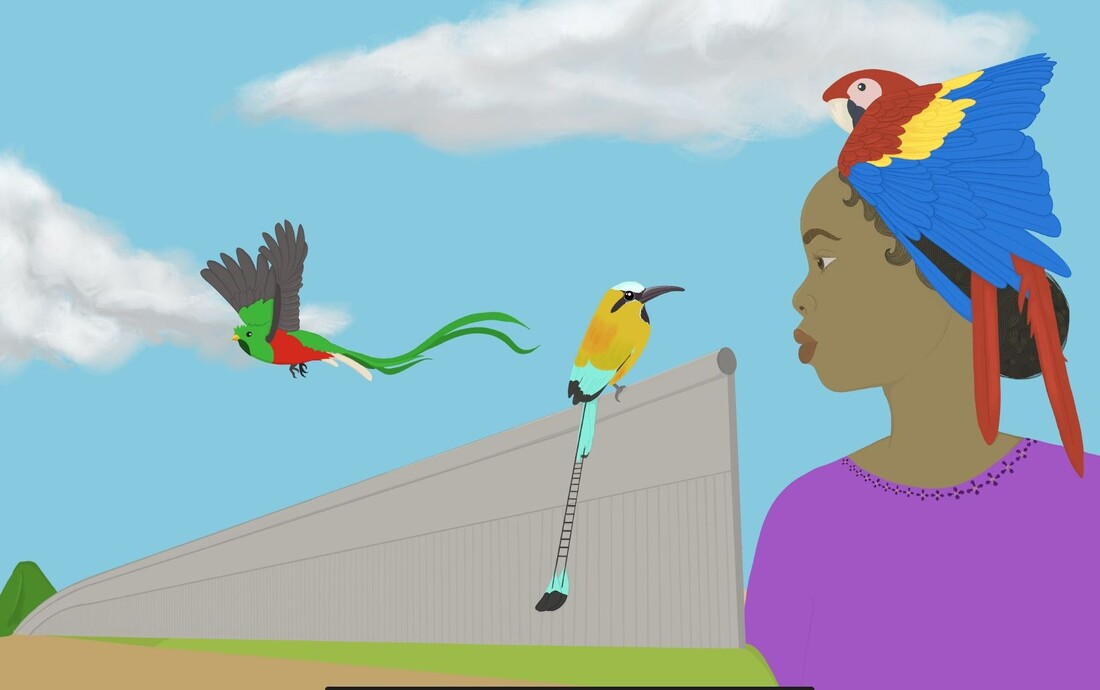 Digital painting with a woman looking sideways. She has brown skin and a purple shirt. Her black hair is in a bun and there is a Macaw parrot on her head. A Torogoz and Quetzal bird fly over a gray wall.